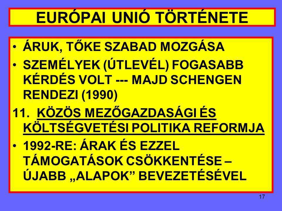 16 EURÓPAI UNIÓ TÖRTÉNETE 10. DÉLI BŐVITÉS: SP (1975), GÖRÖG (1975), PORTUGÁLIA (1978) GÖRÖG TÁRGYALÁS: HÁROM ÉV ALATT, 1979-RE, HÁROM ÉV ÁTMENET SPAN