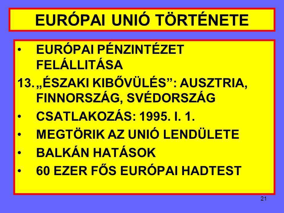 20 EURÓPAI UNIÓ TÖRTÉNETE UK ÉS DÁNIA: KÜLÖN JKV EURÓPAI SZOCIÁLIS KARTA ALÁIRÁSA MAASTRICHTI KRITÉRIUMOK: 1.INFLÁCIÓ MAX. 1.5%-AL LEHET MAGASABB A HÁ