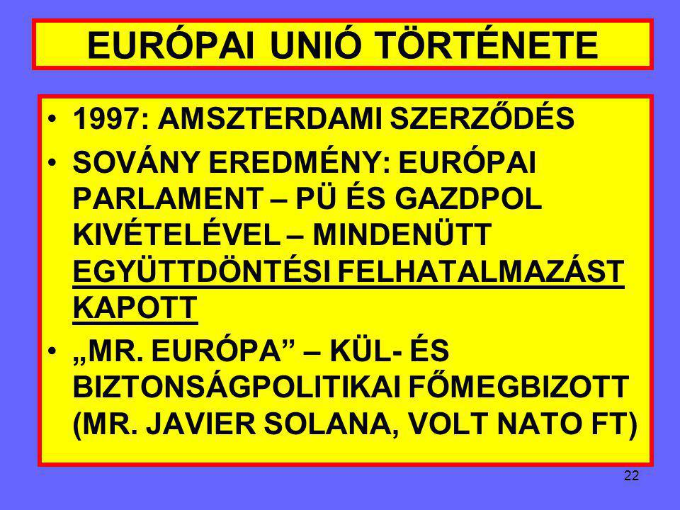 """21 EURÓPAI UNIÓ TÖRTÉNETE EURÓPAI PÉNZINTÉZET FELÁLLITÁSA 13.""""ÉSZAKI KIBŐVÜLÉS"""": AUSZTRIA, FINNORSZÁG, SVÉDORSZÁG CSATLAKOZÁS: 1995. I. 1. MEGTÖRIK AZ"""