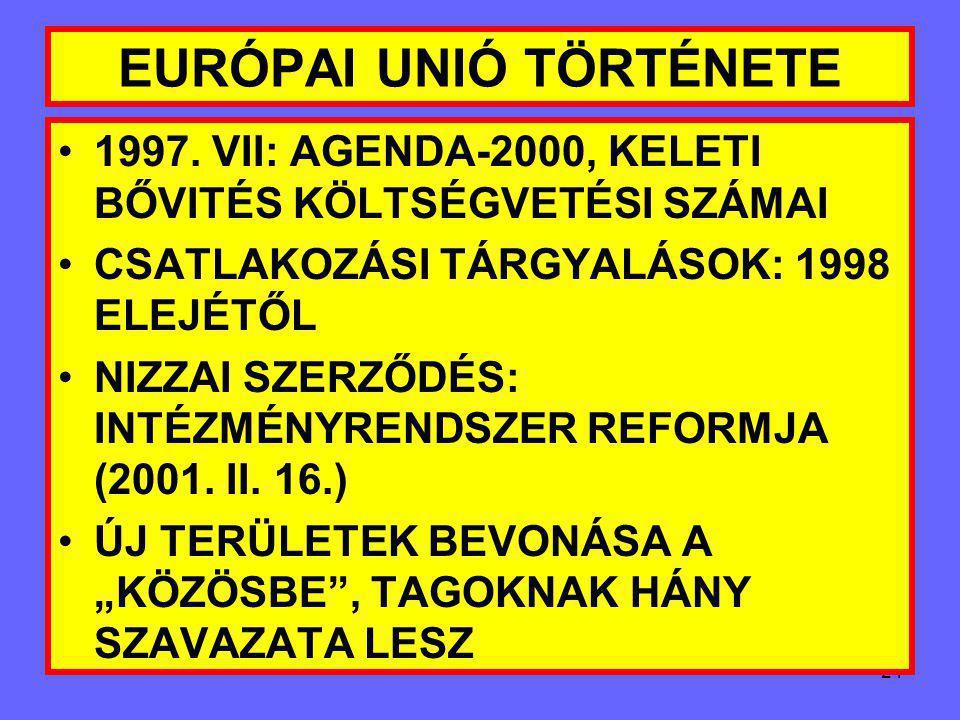 """23 EURÓPAI UNIÓ TÖRTÉNETE 1993. KOPPENHÁGA FELVÉTELI KRITÉRIUMOK MEGADÁSA: 1.DEMOKRATIKUS JOGRENDSZER 2.MŰKÖDŐKÉPES PIACGAZDASÁG 3.VERSENY """"KIÁLLÁSA"""""""