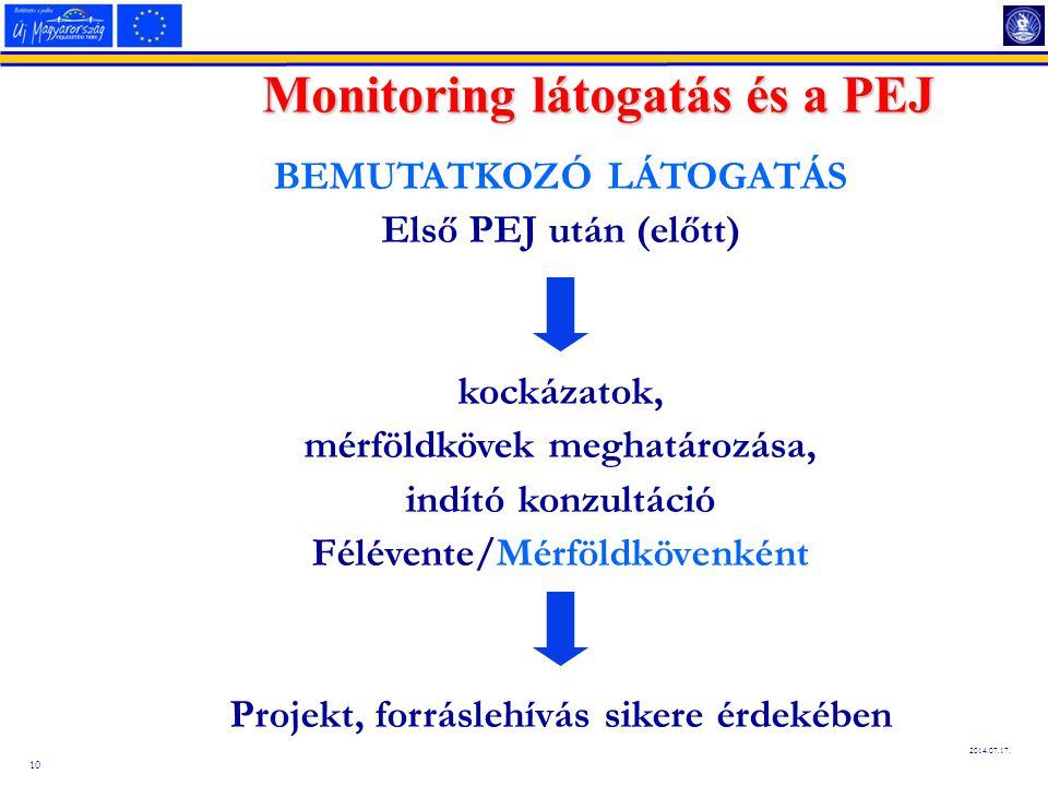 10 2014.07.17. Monitoring látogatás és a PEJ BEMUTATKOZÓ LÁTOGATÁS Első PEJ után (előtt) kockázatok, mérföldkövek meghatározása, indító konzultáció Fé