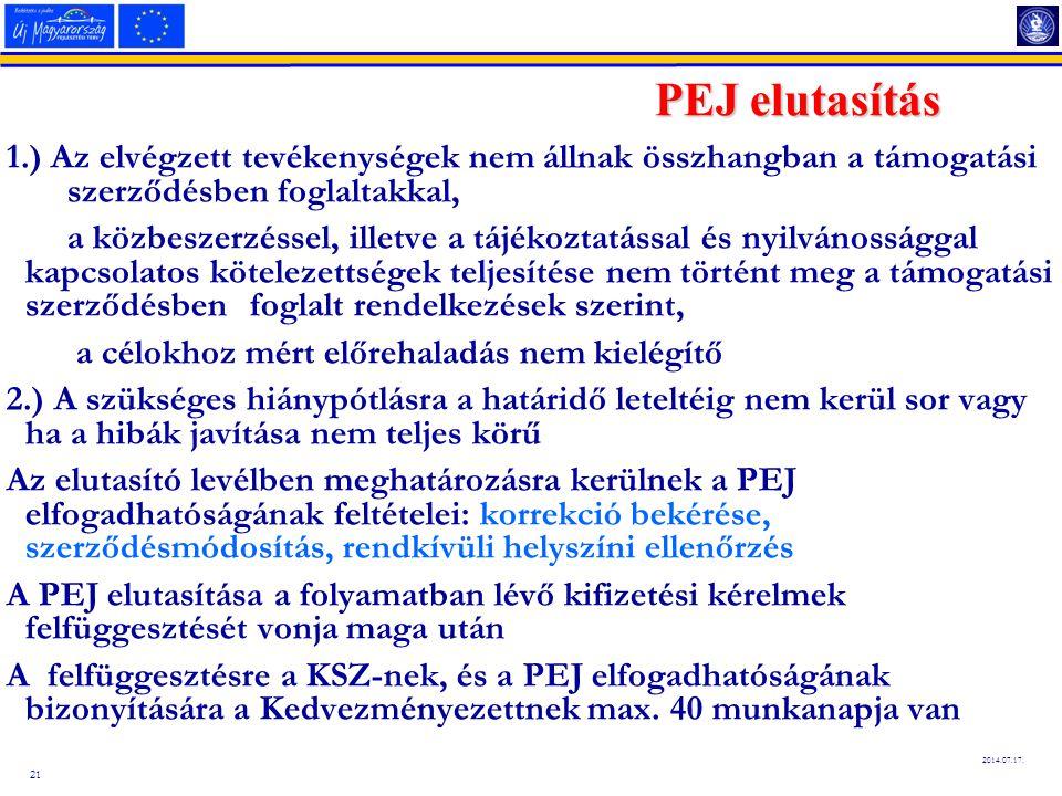 21 2014.07.17. PEJ elutasítás 1.) Az elvégzett tevékenységek nem állnak összhangban a támogatási szerződésben foglaltakkal, a közbeszerzéssel, illetve
