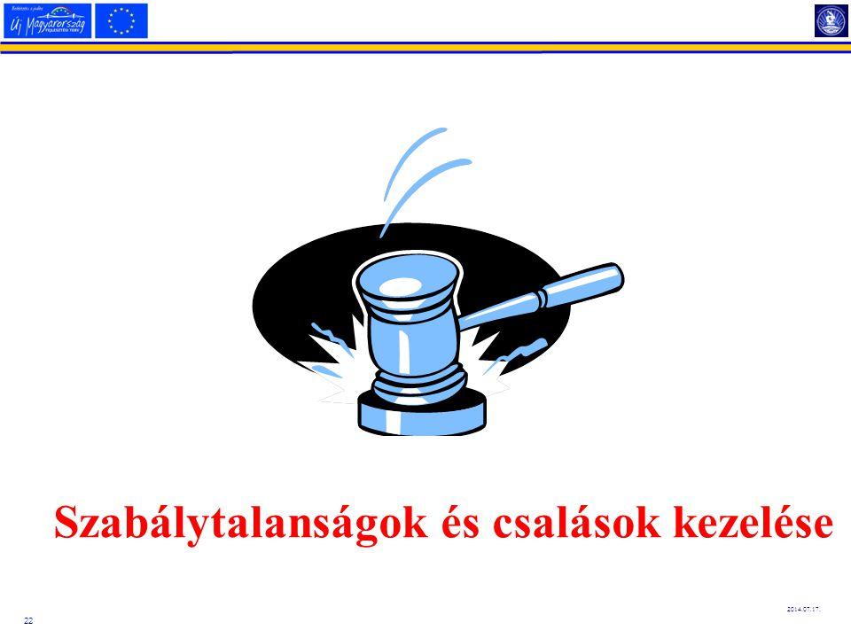 22 2014.07.17. Szabálytalanságok és csalások kezelése