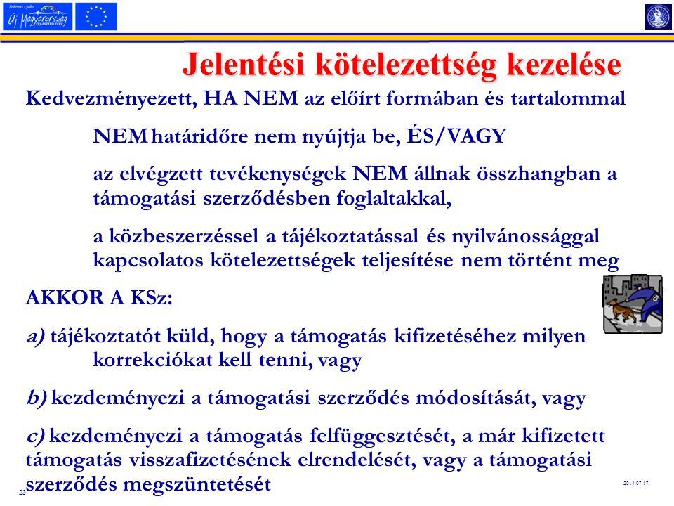 23 2014.07.17. Jelentési kötelezettség kezelése Kedvezményezett, HA NEM az előírt formában és tartalommal NEM határidőre nem nyújtja be, ÉS/VAGY az el