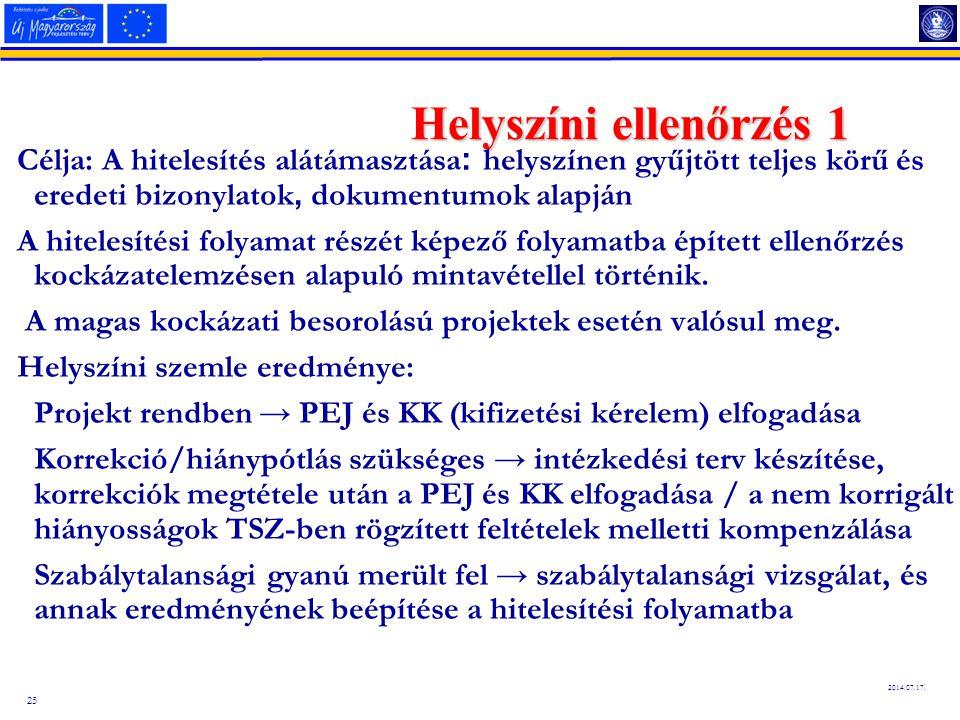 25 2014.07.17. Helyszíni ellenőrzés 1 Célja: A hitelesítés alátámasztása : helyszínen gyűjtött teljes körű és eredeti bizonylatok, dokumentumok alapjá