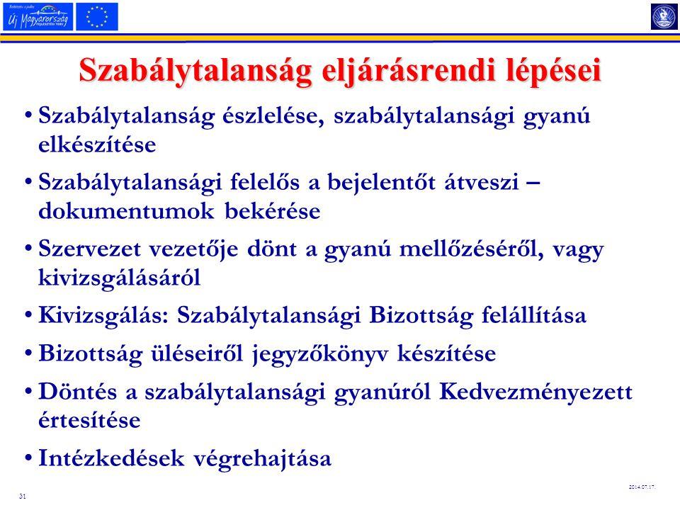 31 2014.07.17. Szabálytalanság eljárásrendi lépései Szabálytalanság észlelése, szabálytalansági gyanú elkészítése Szabálytalansági felelős a bejelentő
