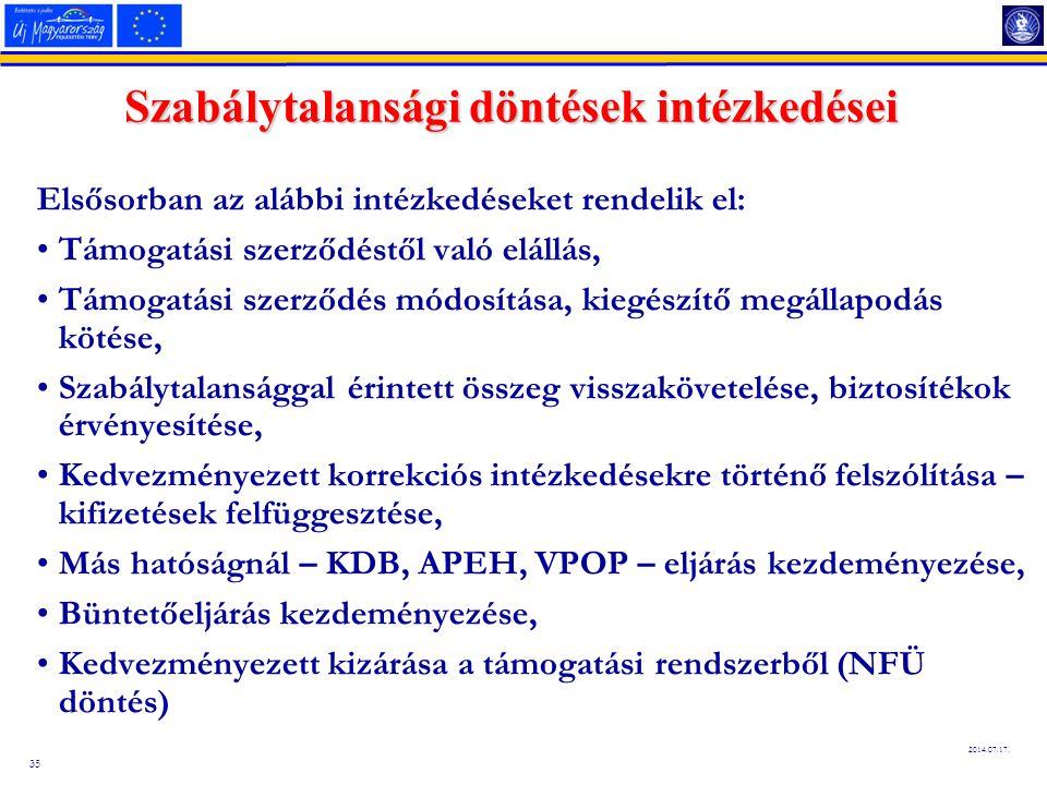 35 2014.07.17. Szabálytalansági döntések intézkedései Elsősorban az alábbi intézkedéseket rendelik el: Támogatási szerződéstől való elállás, Támogatás
