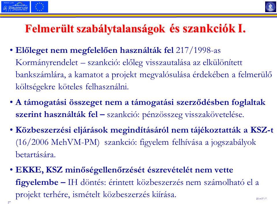 37 2014.07.17. Felmerült szabálytalanságok és szankciók I. Előleget nem megfelelően használták fel 217/1998-as Kormányrendelet – szankció: előleg viss