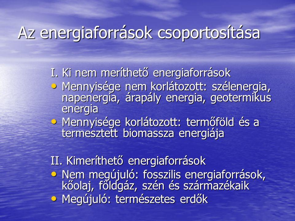 Az energiaforrások csoportosítása I. Ki nem meríthető energiaforrások Mennyisége nem korlátozott: szélenergia, napenergia, árapály energia, geotermiku