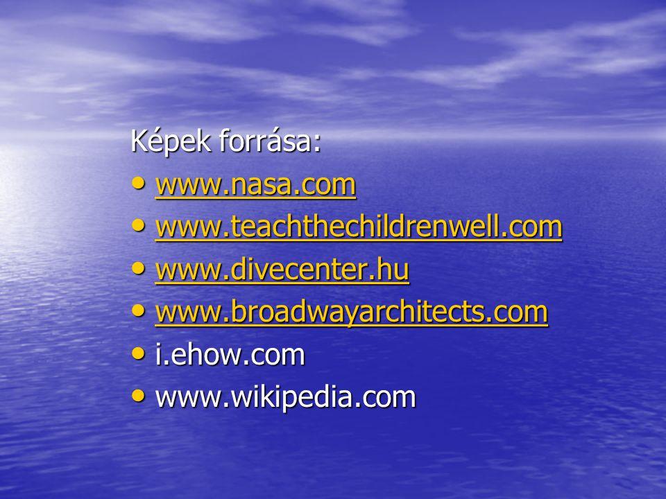 Képek forrása: www.nasa.com www.nasa.com www.nasa.com www.teachthechildrenwell.com www.teachthechildrenwell.com www.teachthechildrenwell.com www.divec