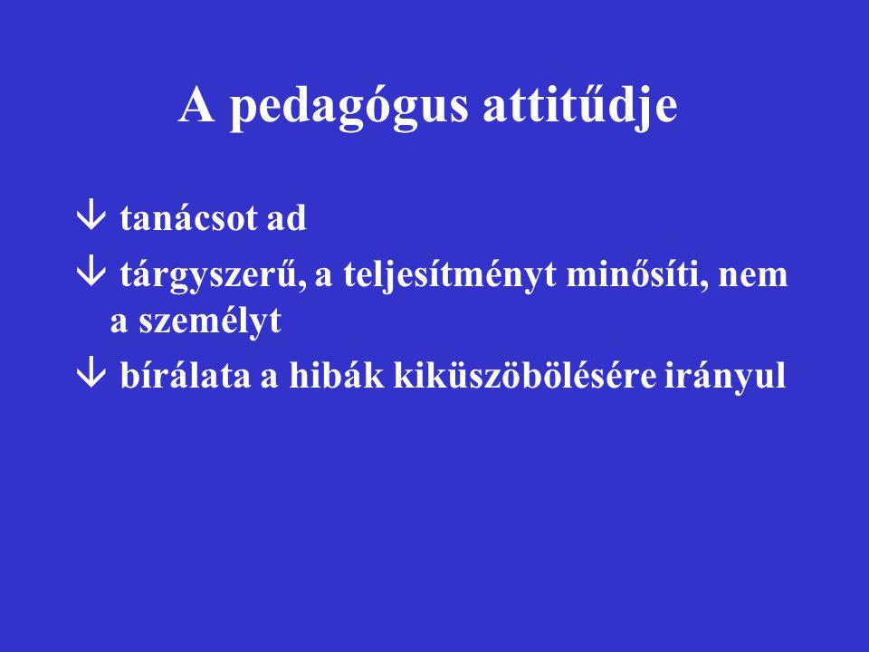 A pedagógus attitűdje â tanácsot ad â tárgyszerű, a teljesítményt minősíti, nem a személyt â bírálata a hibák kiküszöbölésére irányul