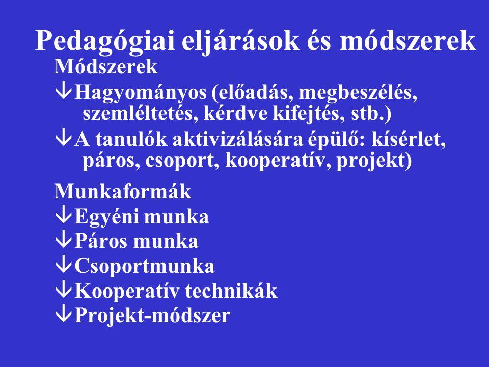 Pedagógiai eljárások és módszerek Módszerek âHagyományos (előadás, megbeszélés, szemléltetés, kérdve kifejtés, stb.) âA tanulók aktivizálására épülő: