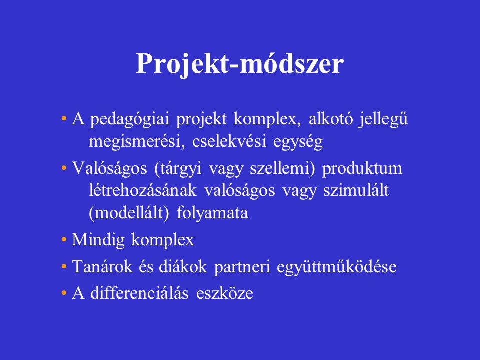 Projekt-módszer A pedagógiai projekt komplex, alkotó jellegű megismerési, cselekvési egység Valóságos (tárgyi vagy szellemi) produktum létrehozásának