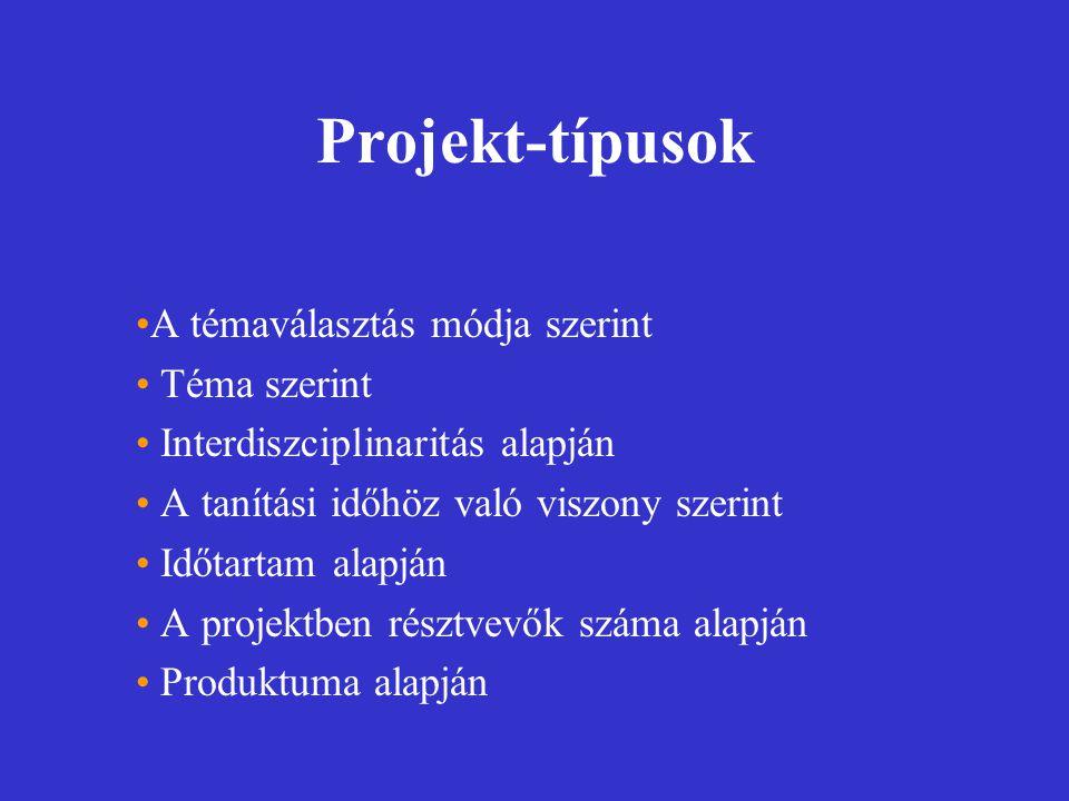 Projekt-típusok A témaválasztás módja szerint Téma szerint Interdiszciplinaritás alapján A tanítási időhöz való viszony szerint Időtartam alapján A pr