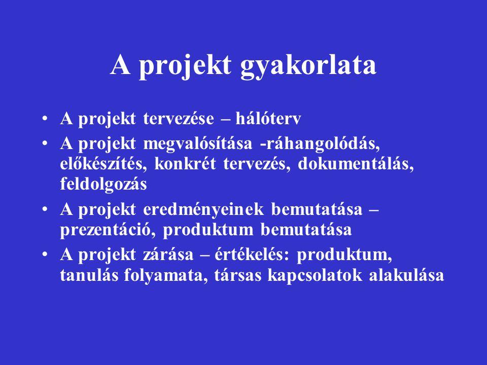 A projekt gyakorlata A projekt tervezése – hálóterv A projekt megvalósítása -ráhangolódás, előkészítés, konkrét tervezés, dokumentálás, feldolgozás A