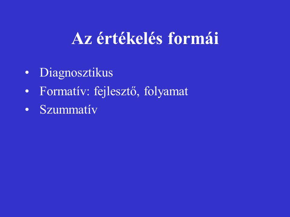 Az értékelés formái Diagnosztikus Formatív: fejlesztő, folyamat Szummatív