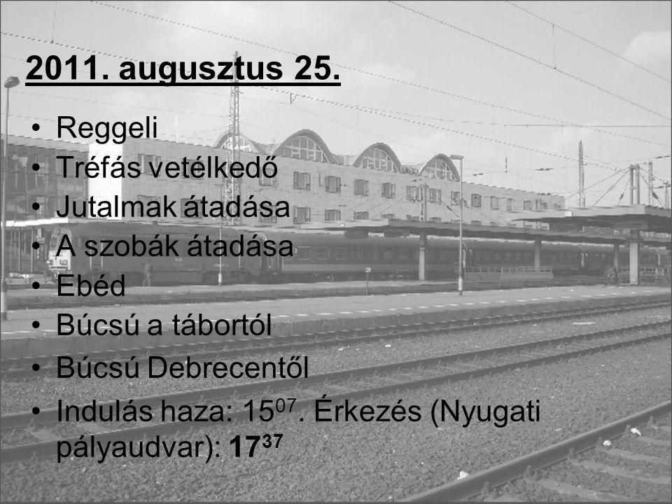 2011. augusztus 25. Reggeli Tréfás vetélkedő Jutalmak átadása A szobák átadása Ebéd Búcsú a tábortól Búcsú Debrecentől Indulás haza: 15 07. Érkezés (N