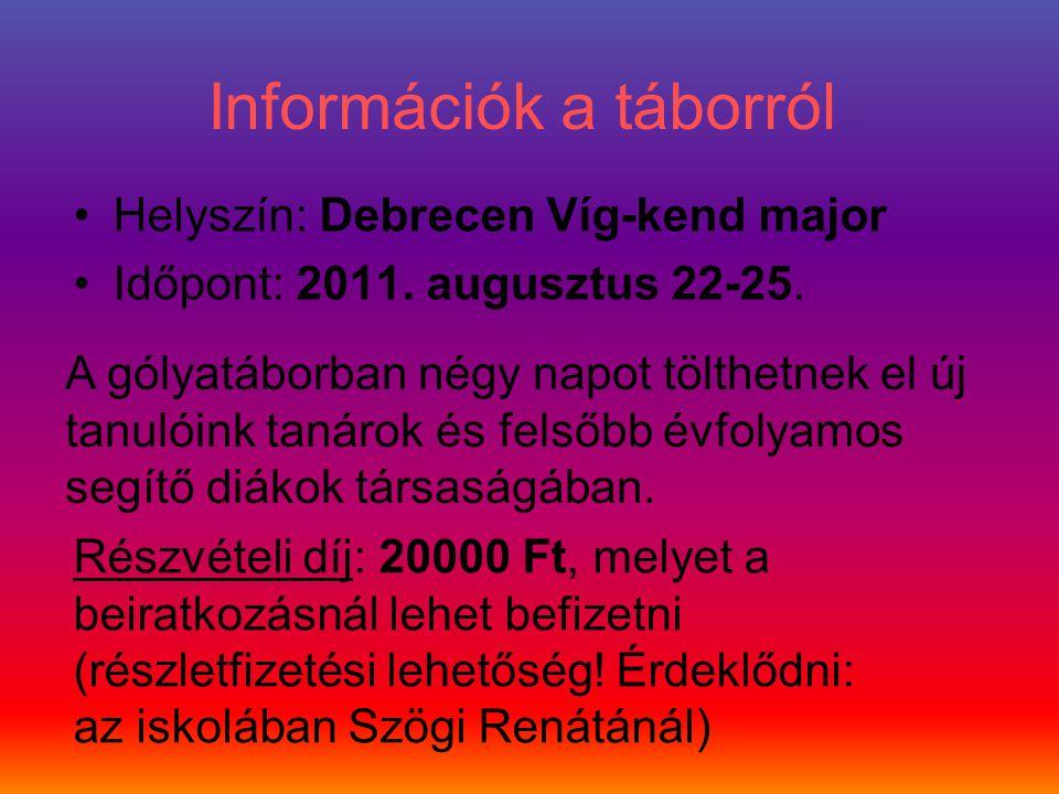 Információk a táborról Helyszín: Debrecen Víg-kend major Időpont: 2011. augusztus 22-25. A gólyatáborban négy napot tölthetnek el új tanulóink tanárok