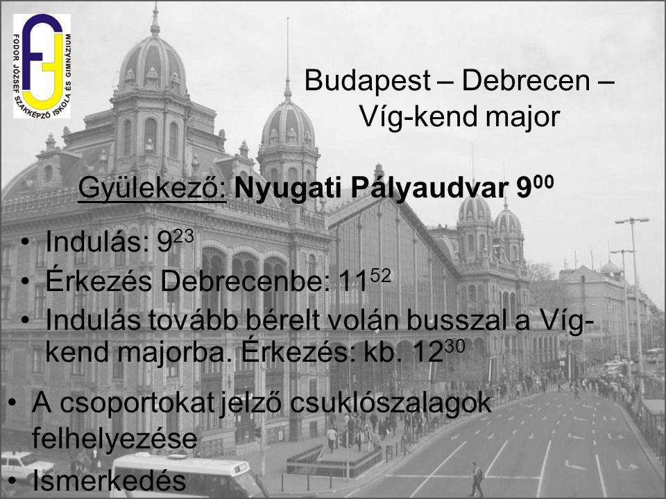 Budapest – Debrecen – Víg-kend major Indulás: 9 23 Érkezés Debrecenbe: 11 52 Indulás tovább bérelt volán busszal a Víg- kend majorba. Érkezés: kb. 12