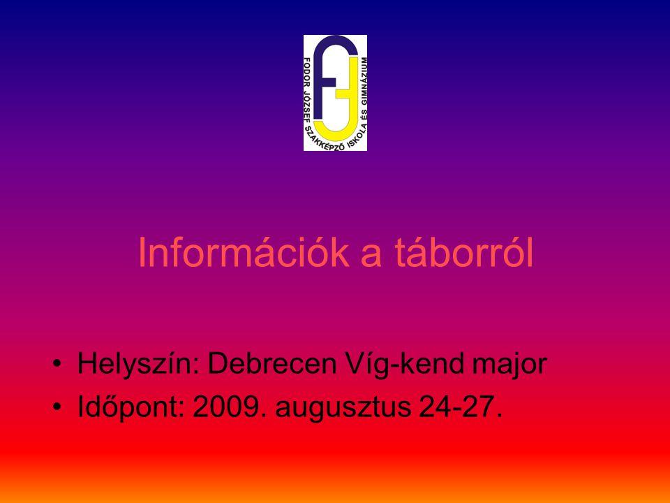Információk a táborról Helyszín: Debrecen Víg-kend major Időpont: 2009. augusztus 24-27.
