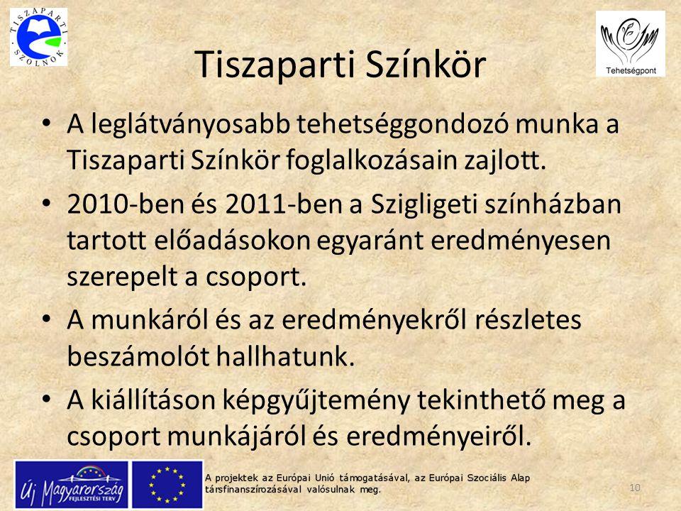 Tiszaparti Színkör A leglátványosabb tehetséggondozó munka a Tiszaparti Színkör foglalkozásain zajlott. 2010-ben és 2011-ben a Szigligeti színházban t