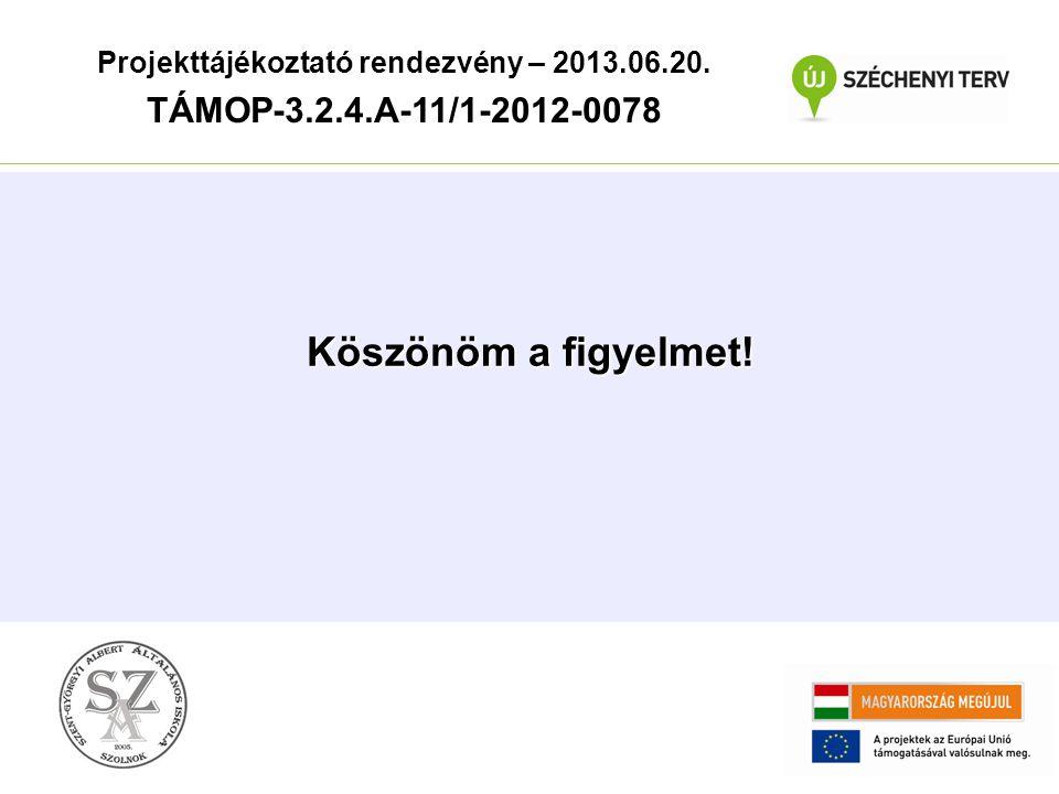 Köszönöm a figyelmet! Projekttájékoztató rendezvény – 2013.06.20. TÁMOP-3.2.4.A-11/1-2012-0078