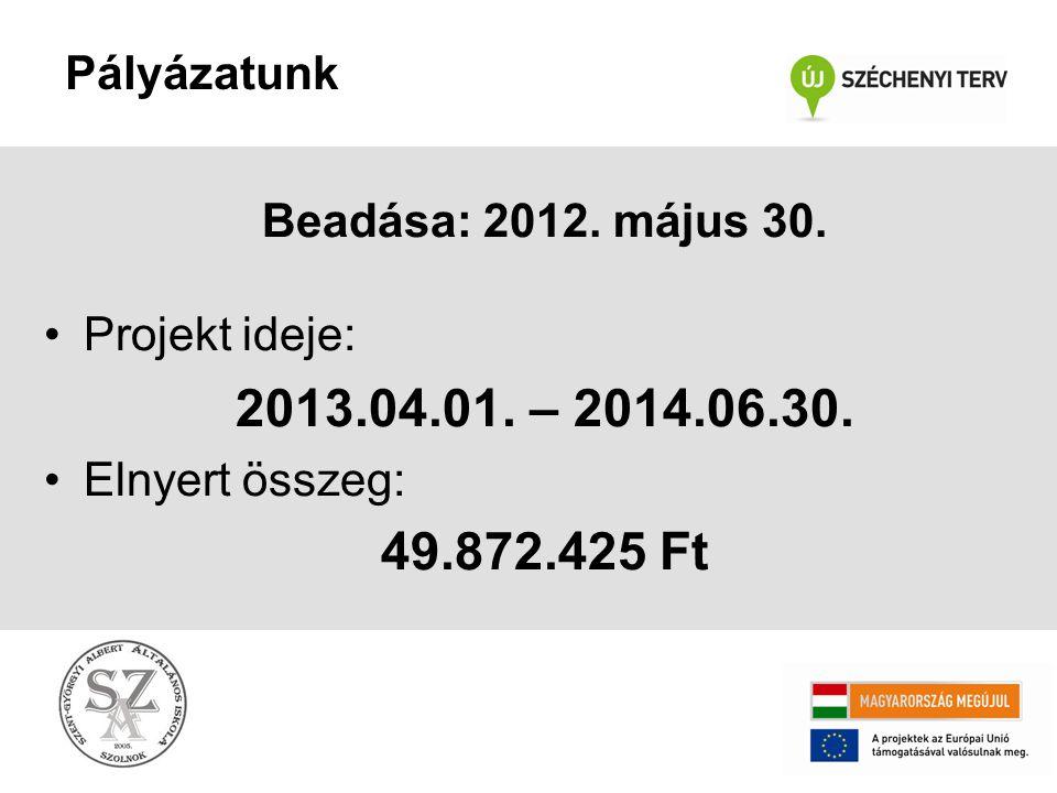 Pályázatunk Beadása: 2012. május 30. Projekt ideje: 2013.04.01. – 2014.06.30. Elnyert összeg: 49.872.425 Ft