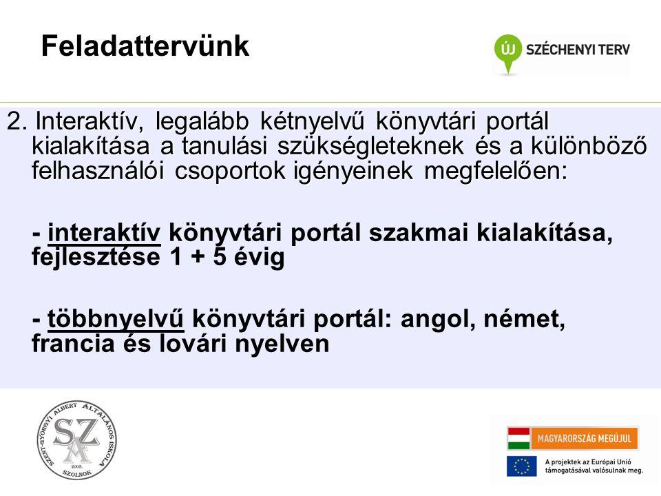 Interaktív, legalább kétnyelvű könyvtári portál kialakítása a tanulási szükségleteknek és a különböző felhasználói csoportok igényeinek megfelelően: 2