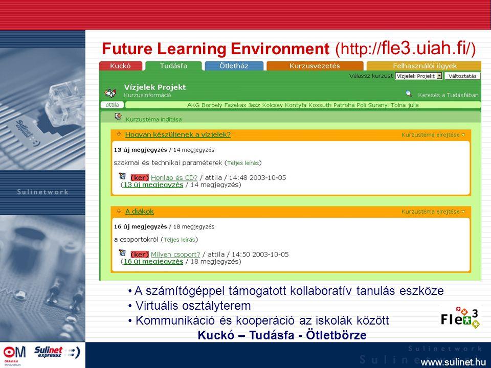 www.sulinet.hu Future Learning Environment (http:// fle3.uiah.fi /) A számítógéppel támogatott kollaboratív tanulás eszköze Virtuális osztályterem Kom