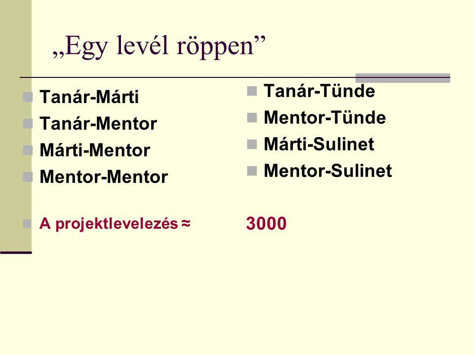 """""""Egy levél röppen"""" Tanár-Márti Tanár-Mentor Márti-Mentor Mentor-Mentor A projektlevelezés ≈ Tanár-Tünde Mentor-Tünde Márti-Sulinet Mentor-Sulinet 3000"""