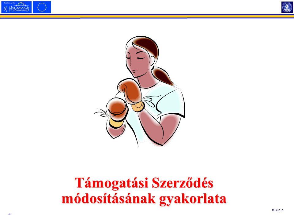 30 2014.07.17. Támogatási Szerződés módosításának gyakorlata