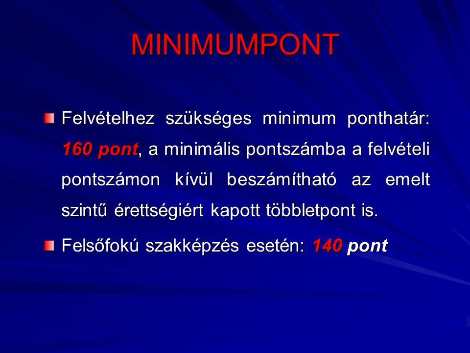 MINIMUMPONT Felvételhez szükséges minimum ponthatár: 160 pont, a minimális pontszámba a felvételi pontszámon kívül beszámítható az emelt szintű érettségiért kapott többletpont is.