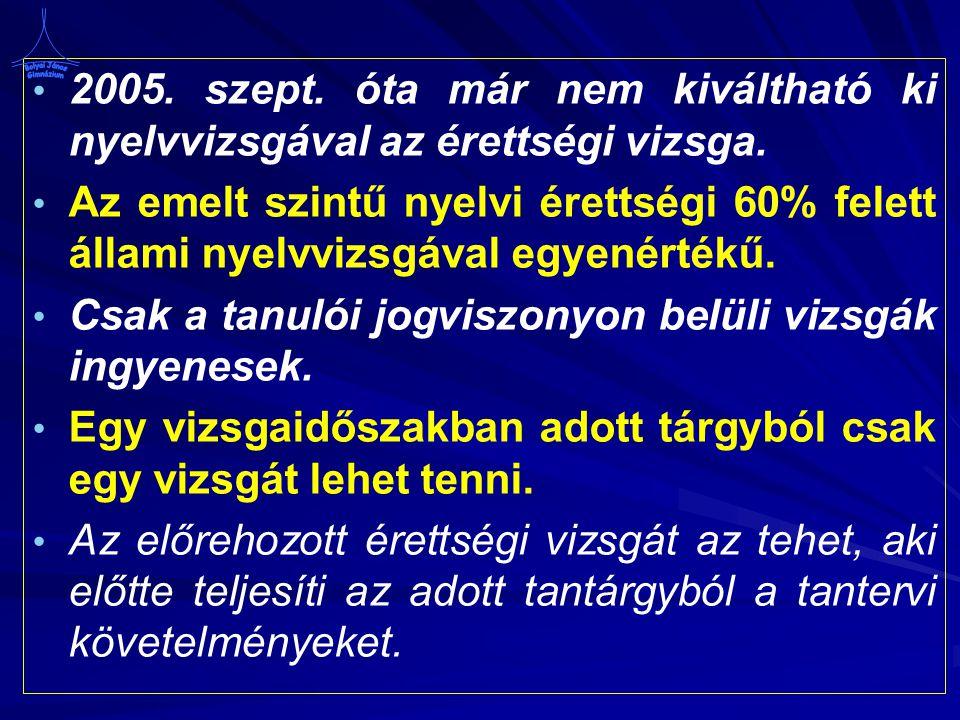 2005. szept. óta már nem kiváltható ki nyelvvizsgával az érettségi vizsga.