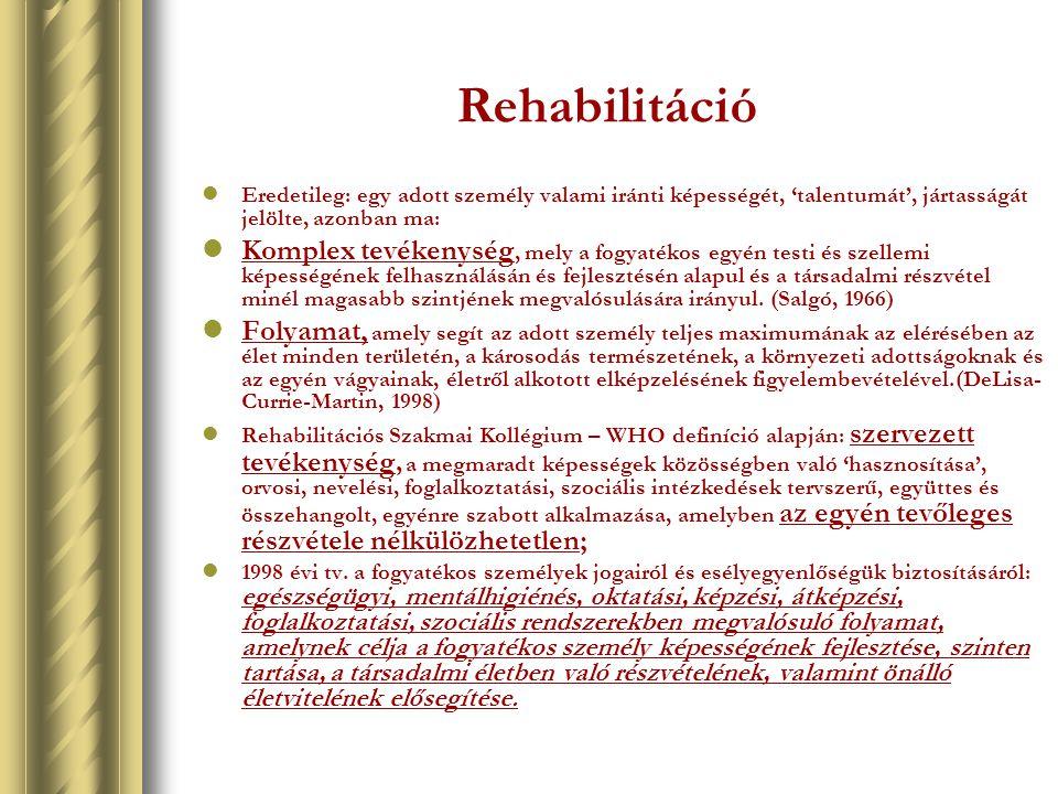Rehabilitáció Eredetileg: egy adott személy valami iránti képességét, 'talentumát', jártasságát jelölte, azonban ma: Komplex tevékenység, mely a fogya