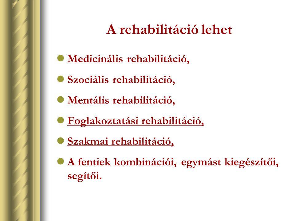 A rehabilitáció lehet Medicinális rehabilitáció, Szociális rehabilitáció, Mentális rehabilitáció, Foglakoztatási rehabilitáció, Szakmai rehabilitáció,
