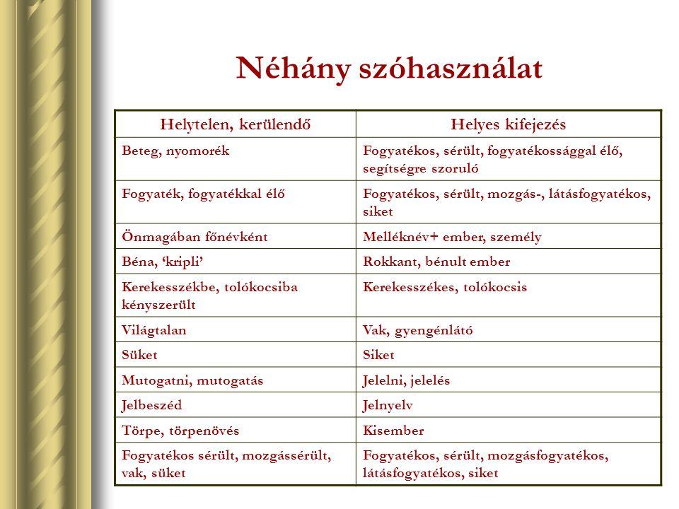 Néhány szóhasználat Helytelen, kerülendőHelyes kifejezés Beteg, nyomorékFogyatékos, sérült, fogyatékossággal élő, segítségre szoruló Fogyaték, fogyaté