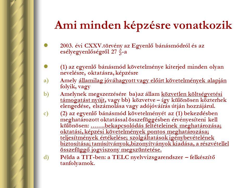 Ami minden képzésre vonatkozik 2003. évi CXXV.törvény az Egyenlő bánásmódról és az esélyegyenlőségről 27 §-a (1) az egyenlő bánásmód követelménye kite