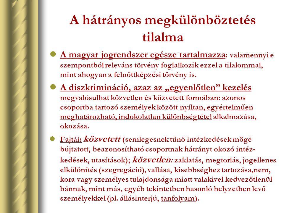 A hátrányos megkülönböztetés tilalma A magyar jogrendszer egésze tartalmazza : valamennyi e szempontból releváns törvény foglalkozik ezzel a tilalomma