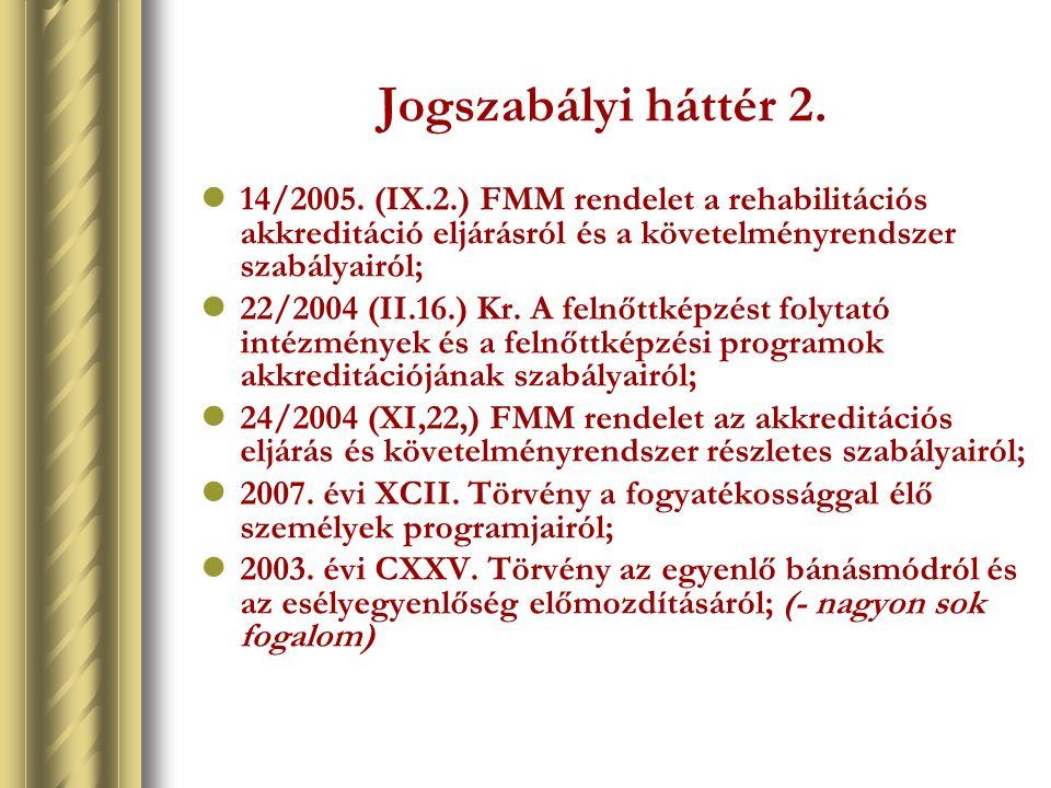 Jogszabályi háttér 2. 14/2005. (IX.2.) FMM rendelet a rehabilitációs akkreditáció eljárásról és a követelményrendszer szabályairól; 22/2004 (II.16.) K