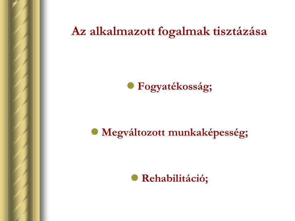 Az alkalmazott fogalmak tisztázása Fogyatékosság; Megváltozott munkaképesség; Rehabilitáció;