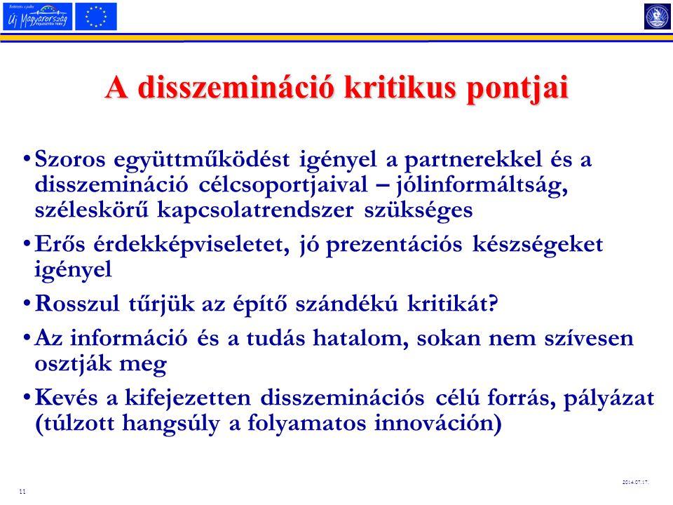 11 2014.07.17. A disszemináció kritikus pontjai Szoros együttműködést igényel a partnerekkel és a disszemináció célcsoportjaival – jólinformáltság, sz