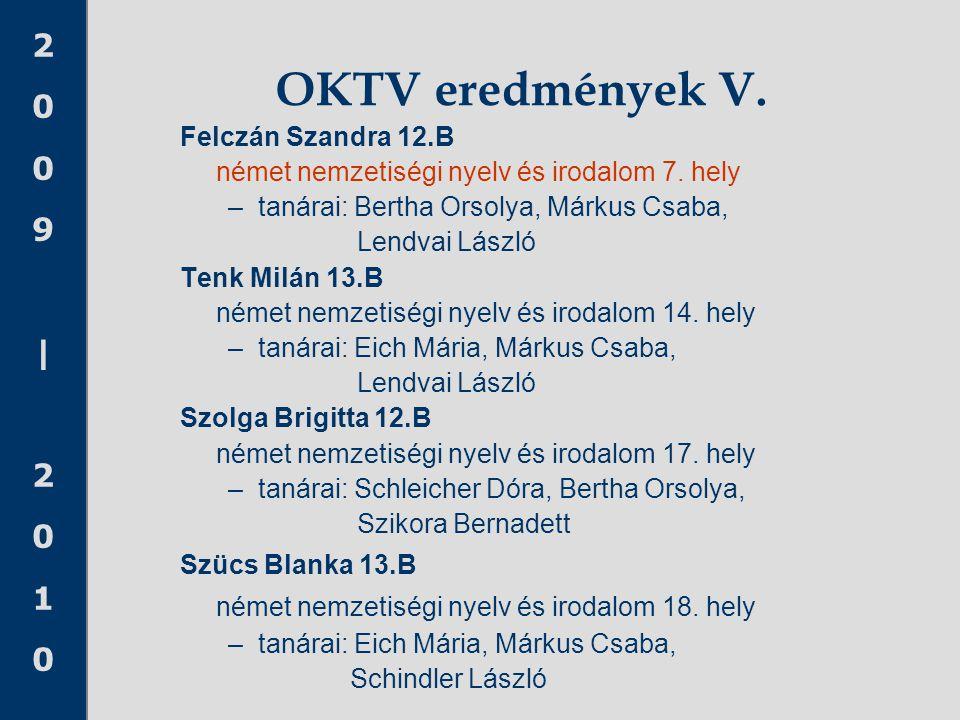 2009|20102009|2010 OKTV eredmények V. Felczán Szandra 12.B német nemzetiségi nyelv és irodalom 7. hely –tanárai: Bertha Orsolya, Márkus Csaba, Lendvai