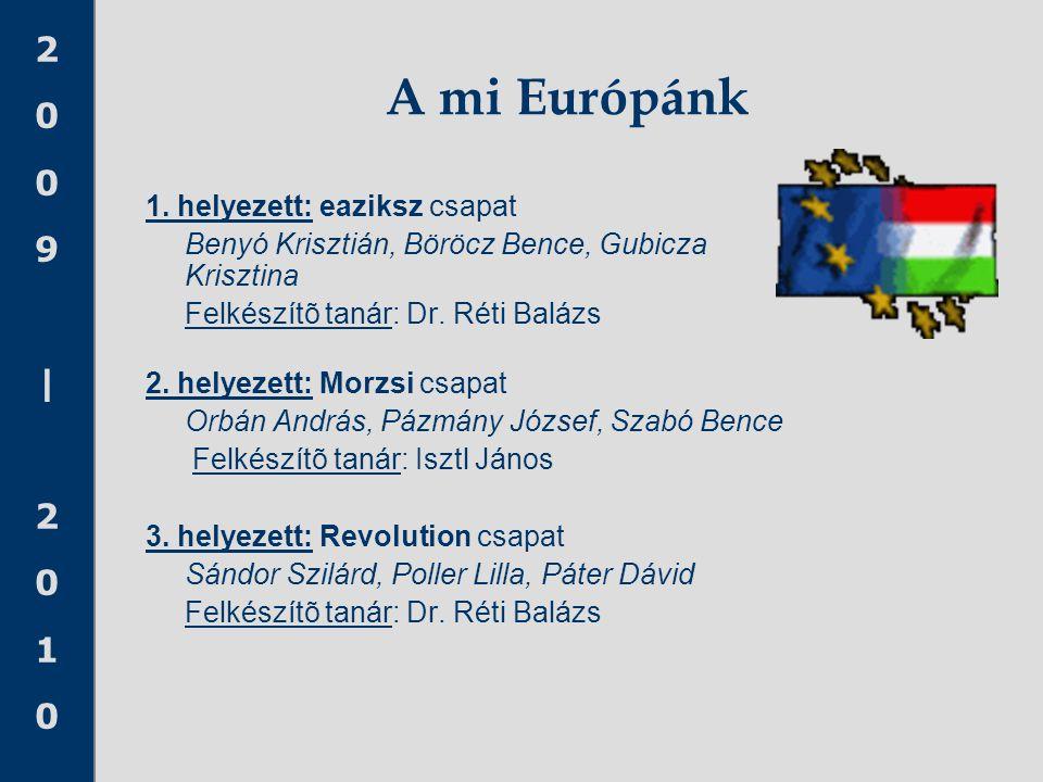 2009|20102009|2010 A mi Európánk 1. helyezett: eaziksz csapat Benyó Krisztián, Böröcz Bence, Gubicza Krisztina Felkészítõ tanár: Dr. Réti Balázs 2. he