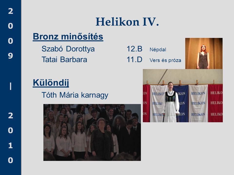 2009|20102009|2010 Bronz minősítés Szabó Dorottya12.B Népdal Tatai Barbara11.D Vers és próza Különdíj Tóth Mária karnagy Helikon IV.