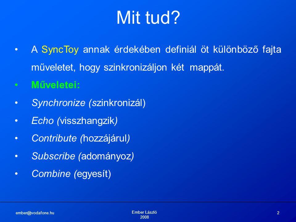 ember@vodafone.hu Ember László 2008 2 Mit tud? A SyncToy annak érdekében definiál öt különböző fajta műveletet, hogy szinkronizáljon két mappát. Művel