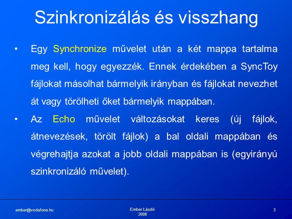 ember@vodafone.hu Ember László 2008 3 Szinkronizálás és visszhang Egy Synchronize művelet után a két mappa tartalma meg kell, hogy egyezzék. Ennek érd