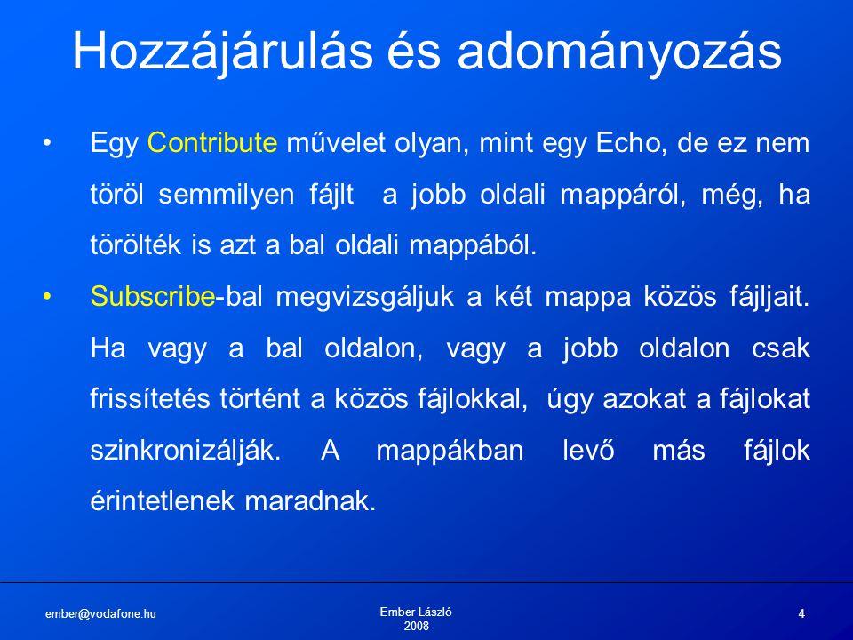 ember@vodafone.hu Ember László 2008 4 Hozzájárulás és adományozás Egy Contribute művelet olyan, mint egy Echo, de ez nem töröl semmilyen fájlt a jobb oldali mappáról, még, ha törölték is azt a bal oldali mappából.