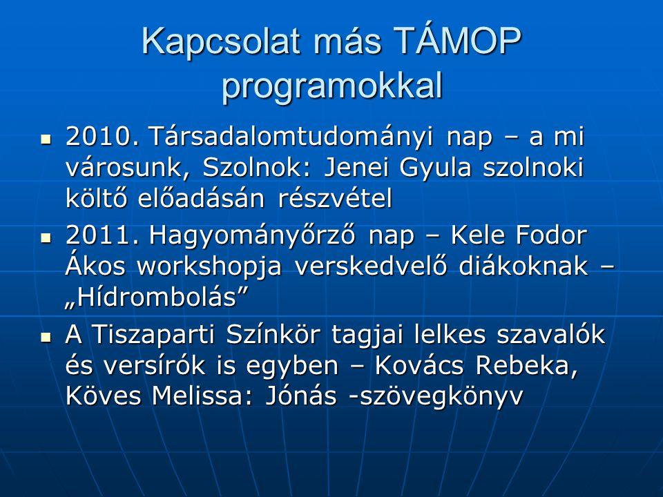 Kapcsolat más TÁMOP programokkal 2010.