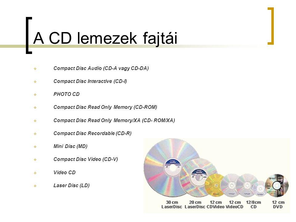 A CD lemezek fajtái CCompact Disc Audio (CD-A vagy CD-DA) CCompact Disc Interactive (CD-I) PPHOTO CD CCompact Disc Read Only Memory (CD-ROM) 