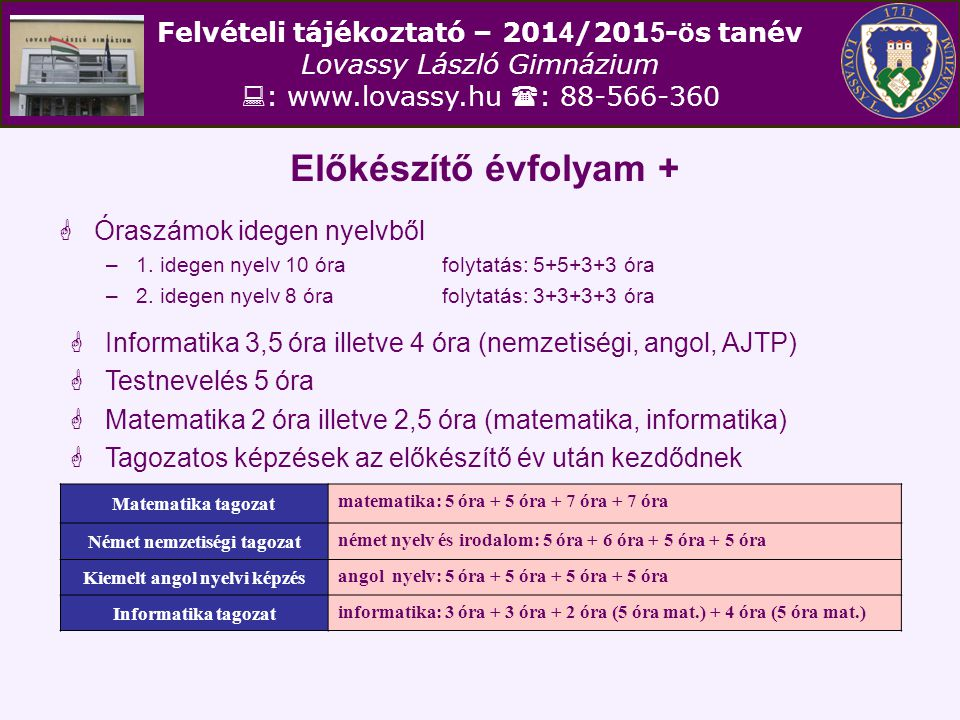 Felvételi tájékoztató – 201 4 /201 5 - ö s tanév Lovassy László Gimnázium  : www.lovassy.hu  : 88-566-360 Előkészítő évfolyam +  Óraszámok idegen n